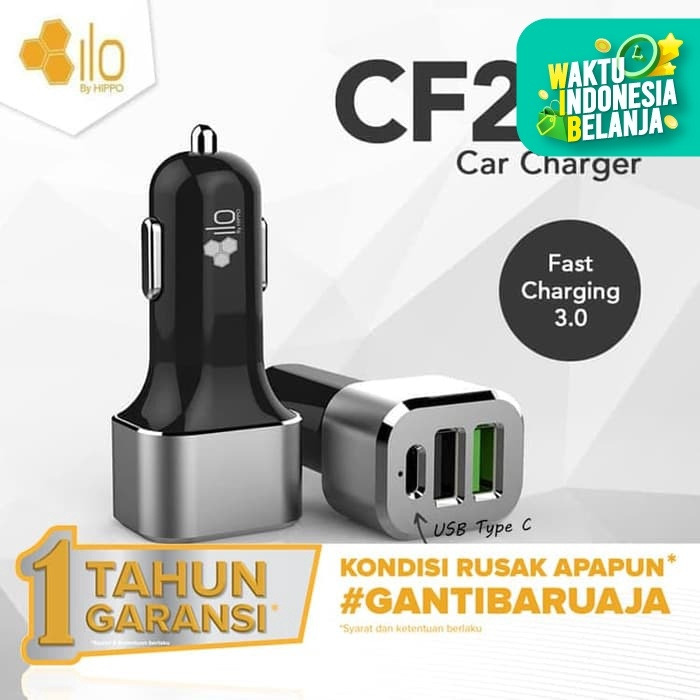 Foto Produk Hippo ILO CF201 Car Charger Mobil Quick Fast Charging 3.0 Value Pack dari iLo Official Store