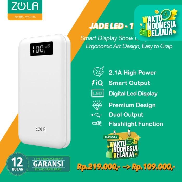 Foto Produk Zola Powerbank Jade Led 10000mAh Smart Led Display Fast Charging 2.1A dari Zola Indonesia
