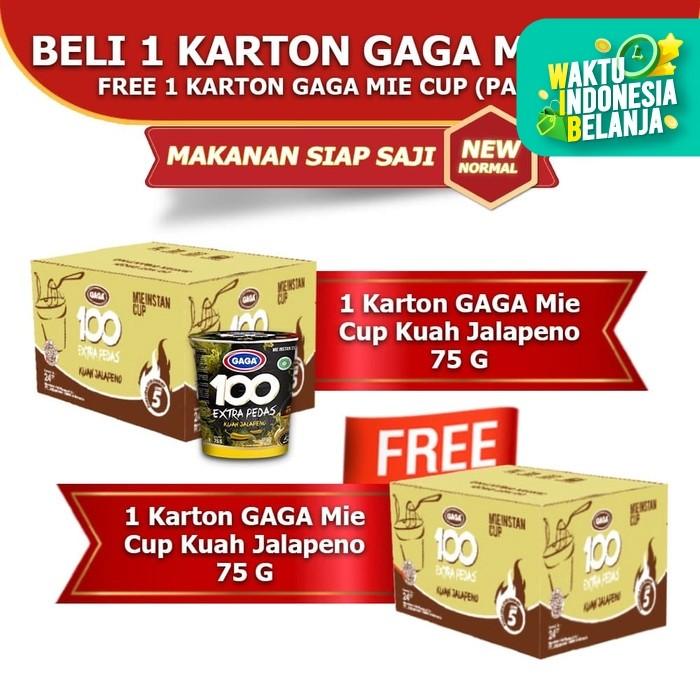 Foto Produk Mie Cup GAGA100 Extra Pedas Kuah Jalapeno Beli 1 dus FREE 1 dus (GG64) dari Gaga Official Store
