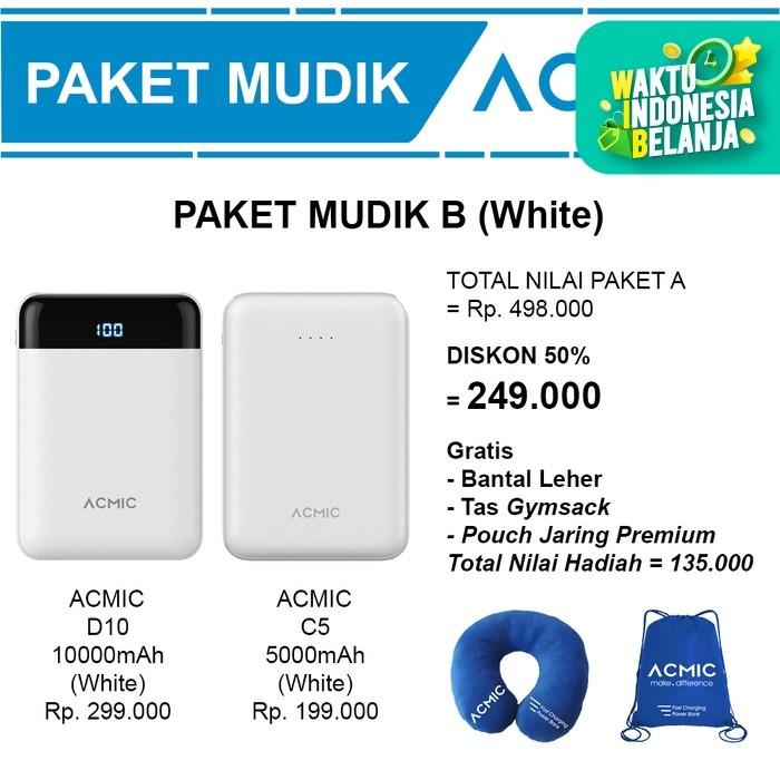 Foto Produk Paket Mudik B (ACMIC D10 10000mAh + C5 5000mAh Power Bank) - Putih dari ACMIC Official Store