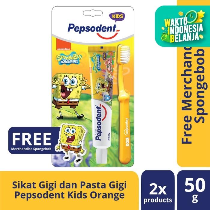 Foto Produk Pepsodent Kids Pasta Gigi Dan Sikat Gigi Anak Spongebob 50G+1Pc dari Unilever Official Store
