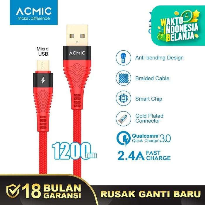 Foto Produk ACMIC XM120 Kabel Data Charger Micro USB 100cm Fast Charging Cable - Hitam dari ACMIC Official Store