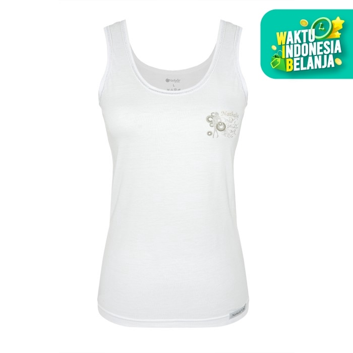 Foto Produk Nathalie Tanktop Pakaian Dalam Putih Bordir Gambar NTA 008 V - XXL dari Flyman Nathalie Store