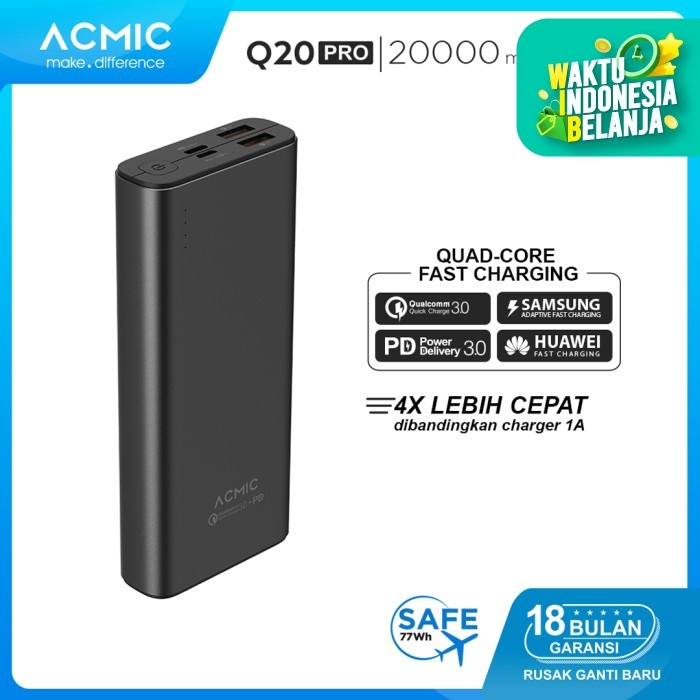 Foto Produk ACMIC Q20PRO 20000mAh Power Bank Quick Charge 3.0 + PD Power Delivery - Grey dari ACMIC Official Store