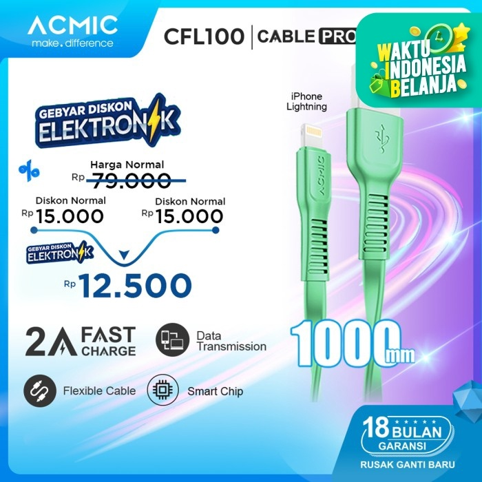 Foto Produk ACMIC CFL100 Kabel Data Charger iPhone Lightning Fast Charging Cable - Tosca dari ACMIC Official Store
