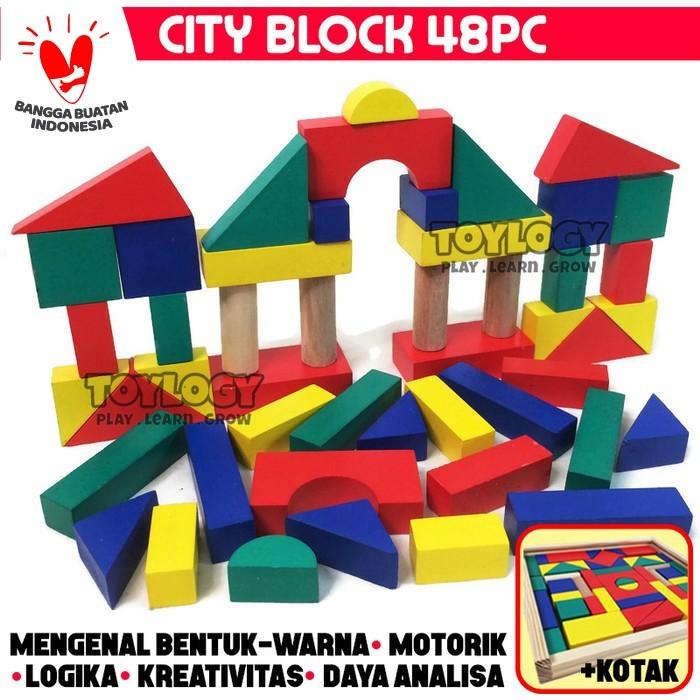 Foto Produk Mainan Edukasi Anak City Block Kayu Balok Warna Susun Blok Bangun Box dari Toylogy