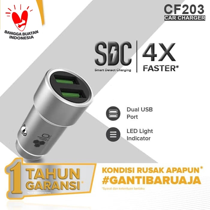 Foto Produk Hippo Ilo CF203 Car Charger Fast Charging 3.0 Value Pack dari iLo Official Store
