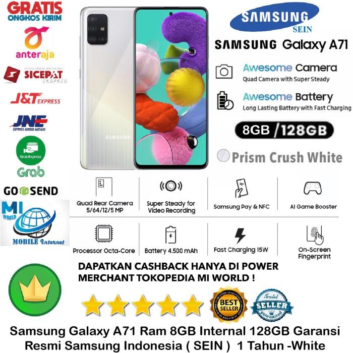 Foto Produk Samsung Galaxy A71 8GB/128GB A 71 8/128GB 8/128 Resmi-SEIN-White-Putih dari MI WORLD