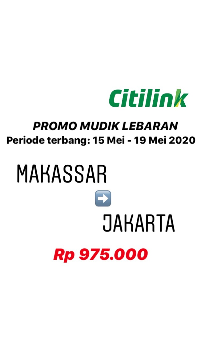 Jual Tiket Pesawat Promo Murah Citilink Periode Mudik Lebaran Upg Cgk Kota Makassar Hbb Travel Tokopedia