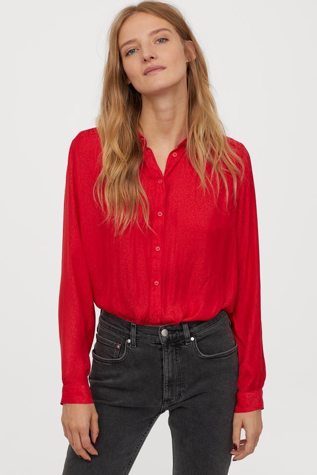 Foto Produk Kemeja H&M Longsleeve Blouse Red Leopard Print Original Cewek Wanita dari OTOMO Store