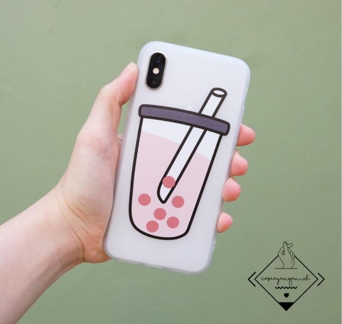 Foto Produk Bobba boba Case Iphone 6 6S 6+ 6S+ 7 8 Plus X XR XS MAX cute casing - Putih dari Caseayangan ID