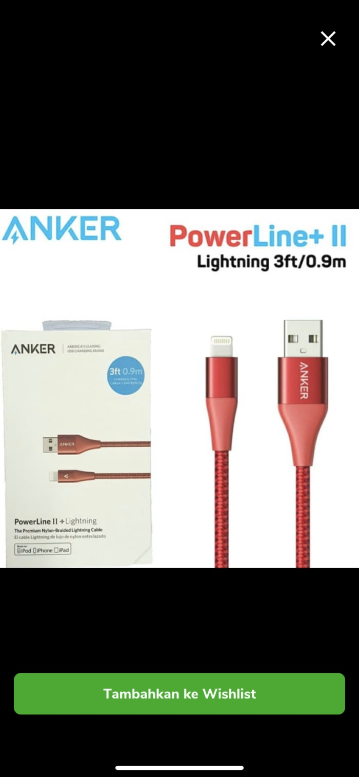 Foto Produk Kabel Data ANKER Power Line+11Cable Lightning 3fit A8452 usb Nylon dari Saven acc