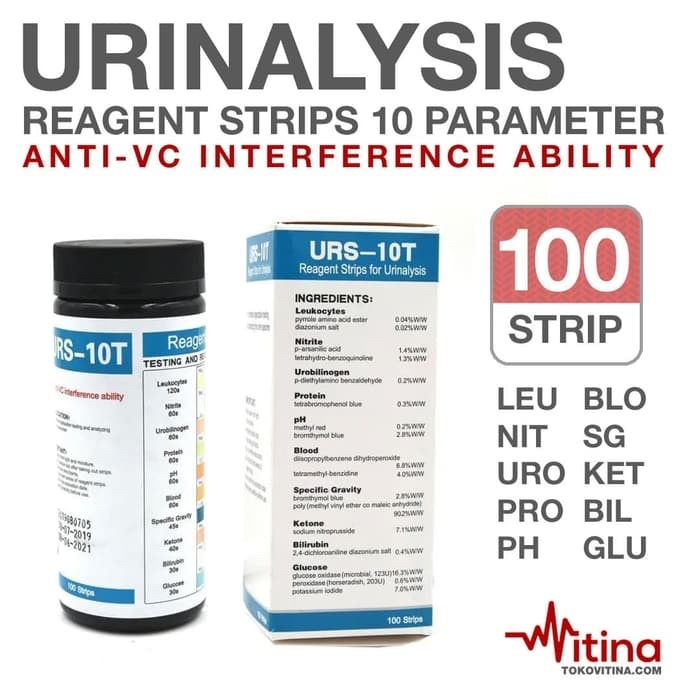 Foto Produk URINALYSIS REAGENT STRIP 10 PARAMETER 100 STRIP TEST URINE VERIFY dari Vitina