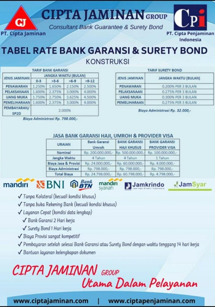 Jual Asuransi Surety Bond Bank Garansi Terdaftar Ojk Dan Asippindo Jakarta Selatan Garansibank Tokopedia