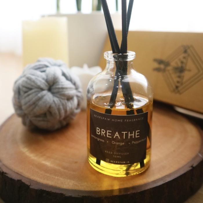 Foto Produk Reed Diffuser Breathe (Lemongrass) 50ml Aromatherapy Free Stick Rotan dari Bearspaw