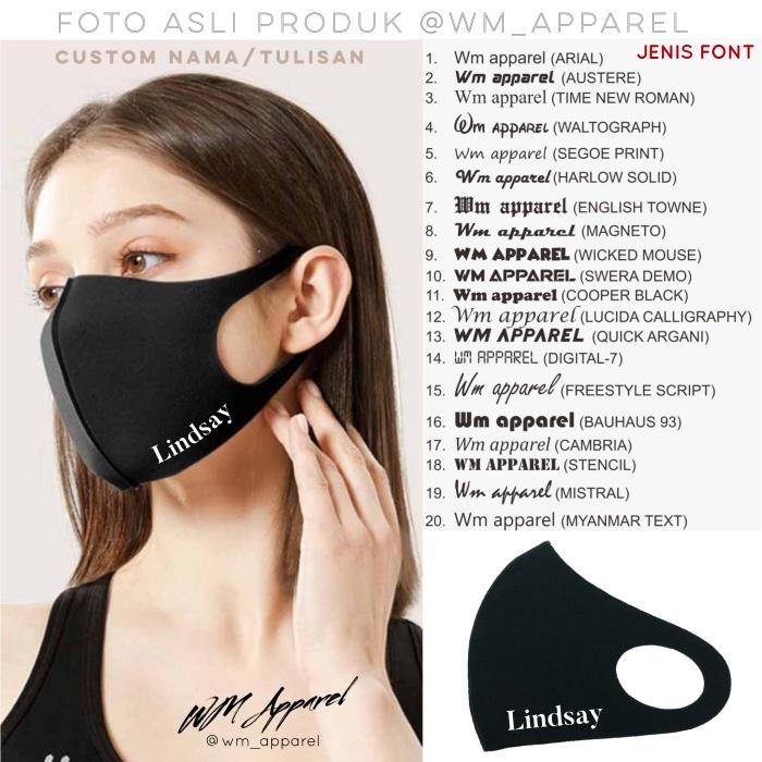 Foto Produk Masker scuba Custom sablon ecer grosir gramasi 280 300 high quality - Dewasa HITAM dari WM Warehouse
