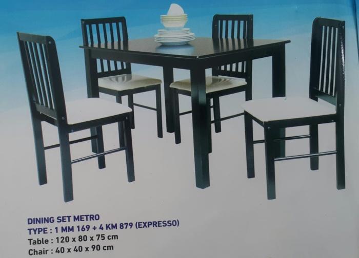 Foto Produk Meja Kursi Makan Set / Metro Dining set Espresso Murah Minimalis dari HMC