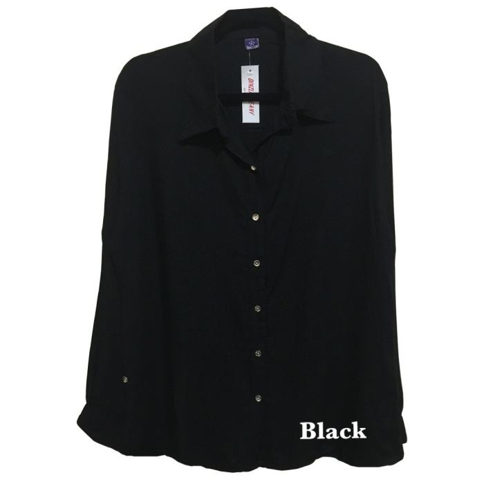 Foto Produk Atasan Kemeja wanita Luxury Basic Polos Rayon Terlaris Hitam Fit M-L dari Supplier Murahh