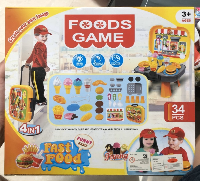 Foto Produk Mainan Anak - Foods Game 4 in 1 Fast Food Play Set Koper Trolley dari Lumi Toys