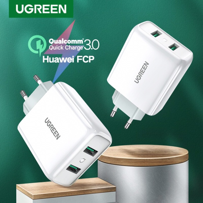 Foto Produk Ugreen charger QC3.0 dual port with Total 36Watt WHITE-70163 dari Ugreen ID