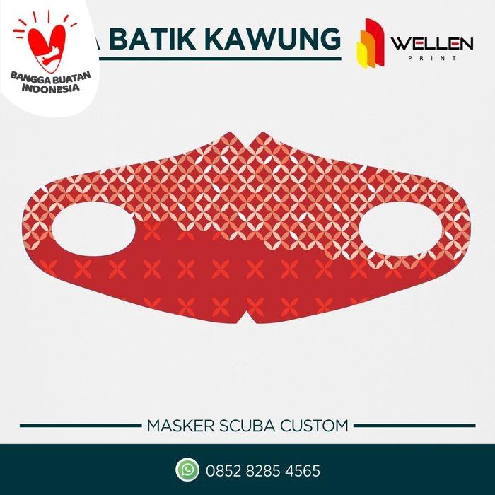 Foto Produk Masker Kain Scuba 290 gsm Print / Printing Batik Kawung Dewasa Satuan - Merah dari WELLEN PRINT