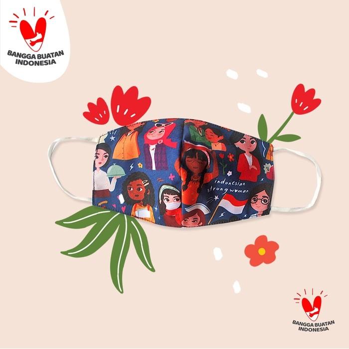 Foto Produk EARLOOP - Masker INDONESIAN STRONG WOMAN - Biru dari SOVLO