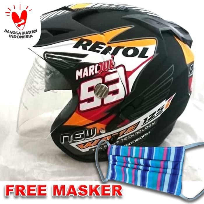 Foto Produk Helm 2 kaca (Double Visor) Murah Black doff Marquez Repsol Honda DMN dari Lamora