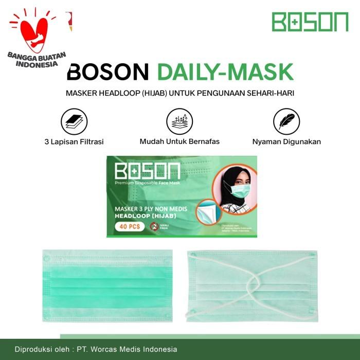 Foto Produk BOSON Masker Hijab Headloop 3 Ply Isi 40 Pcs - Disposable Daily Mask dari WORCAS COFFEE