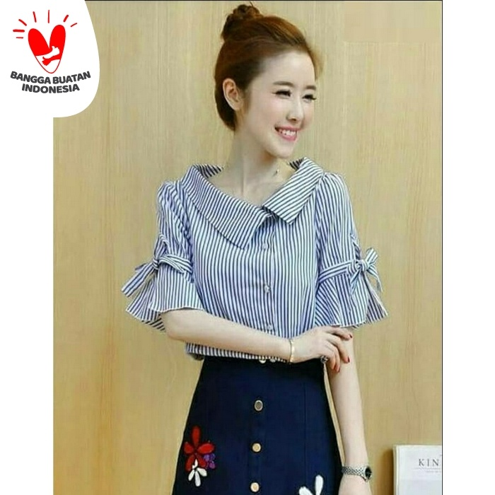 Foto Produk [Marina ribbon RO] blouse wanita yandet salur biru dari FASHIONISTA's GROSIR