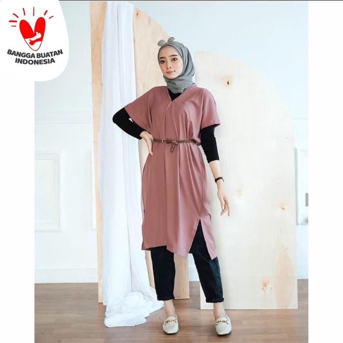 Foto Produk Baju Tunik Wanita Terbaru Laudya Tunik FREE BELT Murah dari hijabafwa