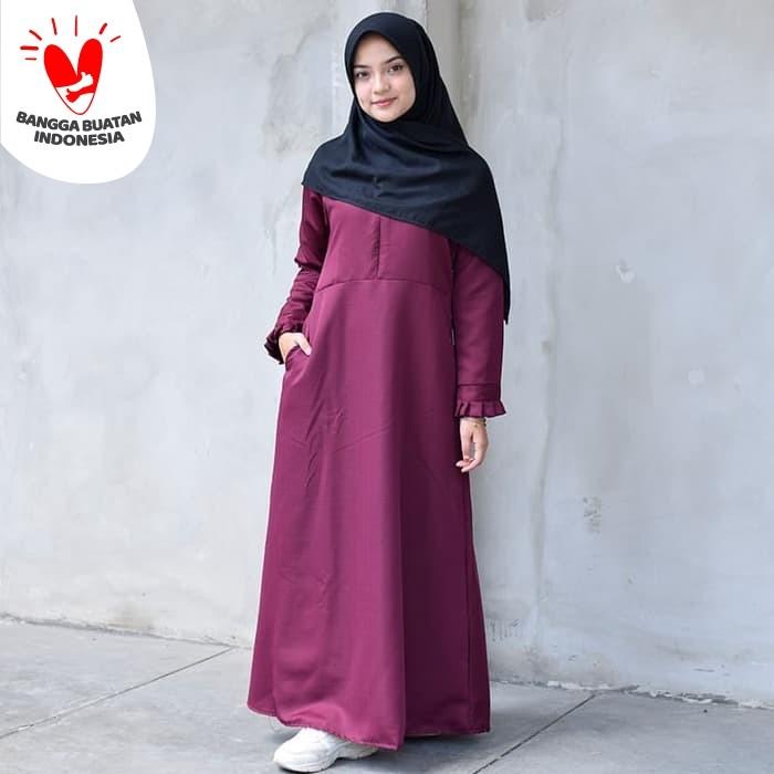 Foto Produk Muslimore - Baju Muslim Wanita Gamis Murah Marun Polos Balotelli XNB07 - Merah, S dari muslimore