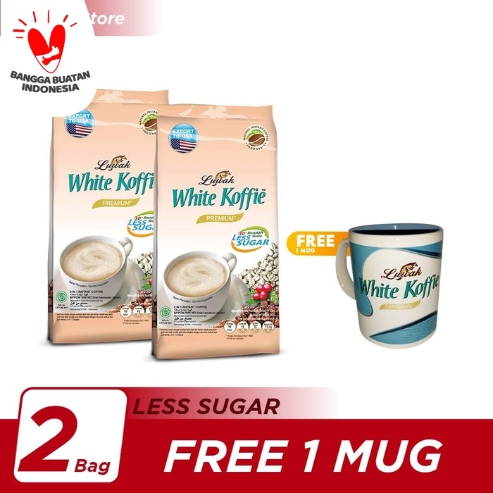 Foto Produk Kopi Luwak White Koffie Less Sugar Bag 20x20gr Twin Pack - Free 1 Mug dari Kopi Luwak Official