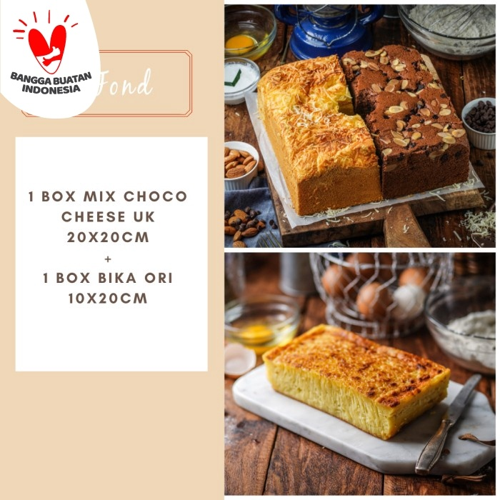 Foto Produk PAKET Mix Choco Cheese uk 20x20cm + Bika Ori uk 10x20cm dari BeFond Cake