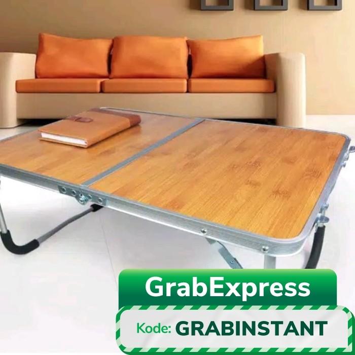 Foto Produk ALUMUNIUM PORTABLE LAPTOP DESK/Meja Lipat utk Laptop -coklat kayu dari bintang global group