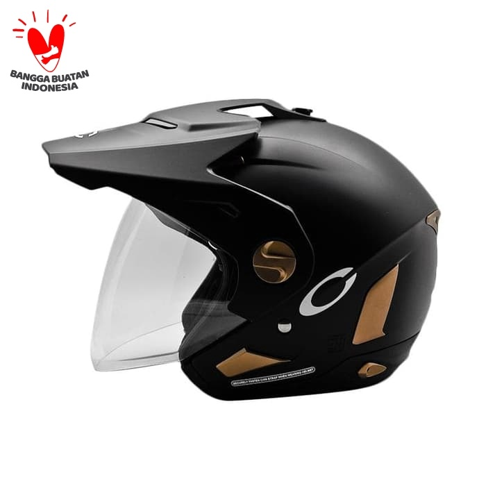 Foto Produk Cargloss Former Text Helm Half Face - Gold Black Doff - Hitam, SIZE M dari Helm Cargloss