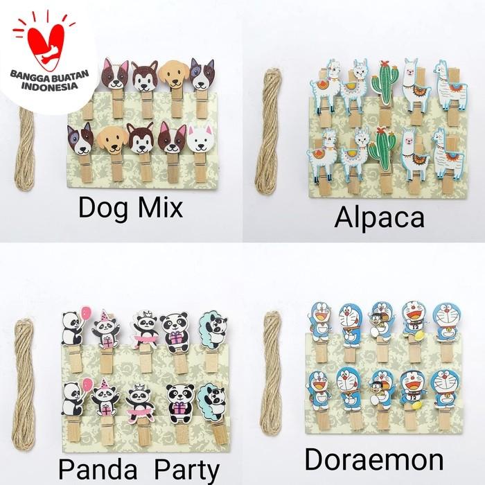 Foto Produk Wooden Clip Set Minion,Doraemon,Unicorn,Flamingo / Penjepit Foto Kayu dari Pestaphoria