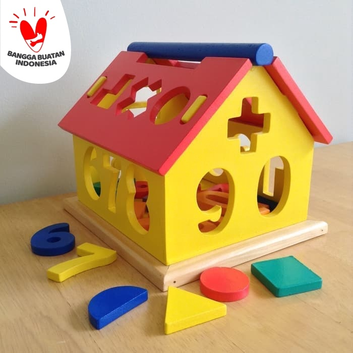 Foto Produk Mainan Edukatif / Edukasi Anak - Puzzle Balok Kayu - Rumah Angka Shape dari Toko DnD
