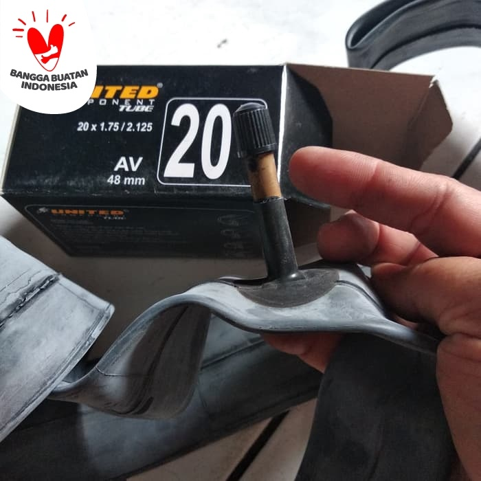 Foto Produk 20 x 1.75 / 2.125 48 mm Ban Dalam Sepeda United , pentil panjang dari Sekawan Sepeda
