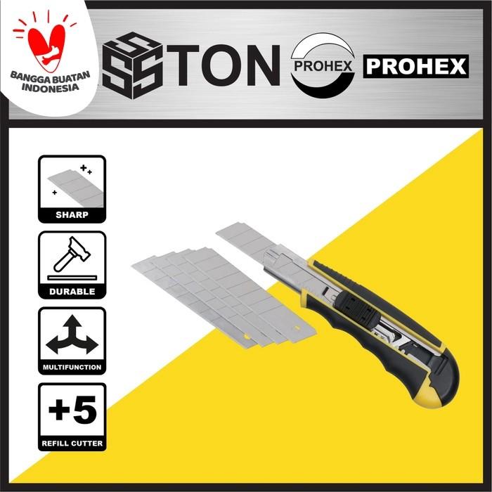 Foto Produk PROHEX HASSTON Cutter Handle Plastik 18mm+5 Pcs Blade (0820-102) dari Hasston Prohex