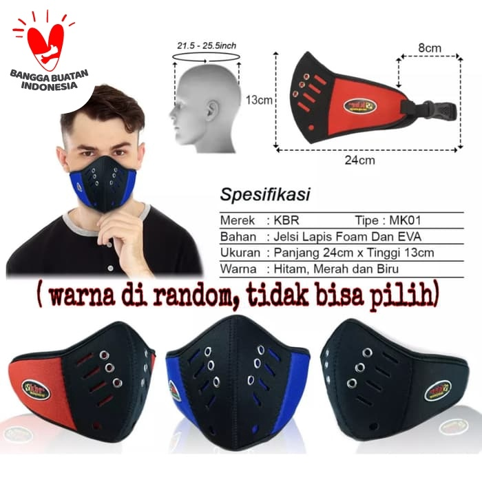 Foto Produk WARNA-RACING Masker motor / masker anti polusi debu virus pejalan kaki dari Bolapedia