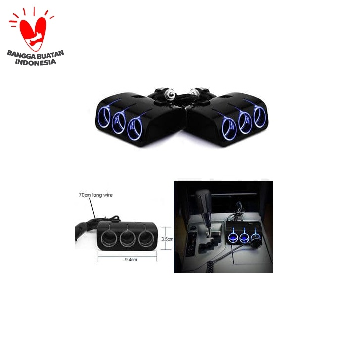 Foto Produk 3 Way Car Cigarette Lighter Socket Splitter Dual USB Charger DC 12V/24 - Putih dari vauto