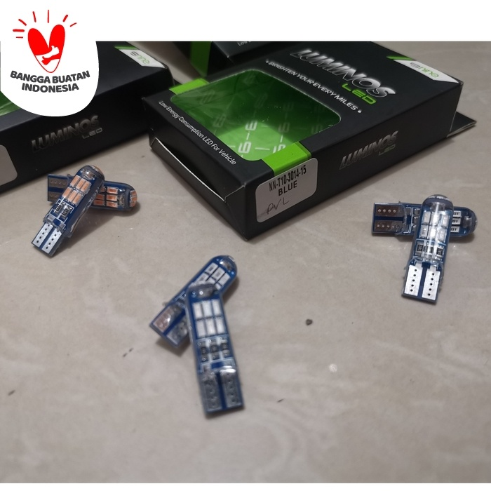 Foto Produk Lampu Senja Kota Sein T10 15 Titik Luminos LED Crystal Sepasang - Biru Muda dari Lestari Motor 2