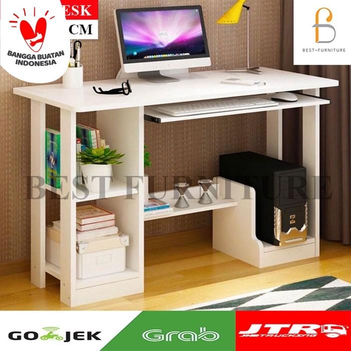 Foto Produk Best Cooldesk Meja Komputer Meja Belajar Multifungsi uk 90x43 - Putih - Putih dari BestLivings