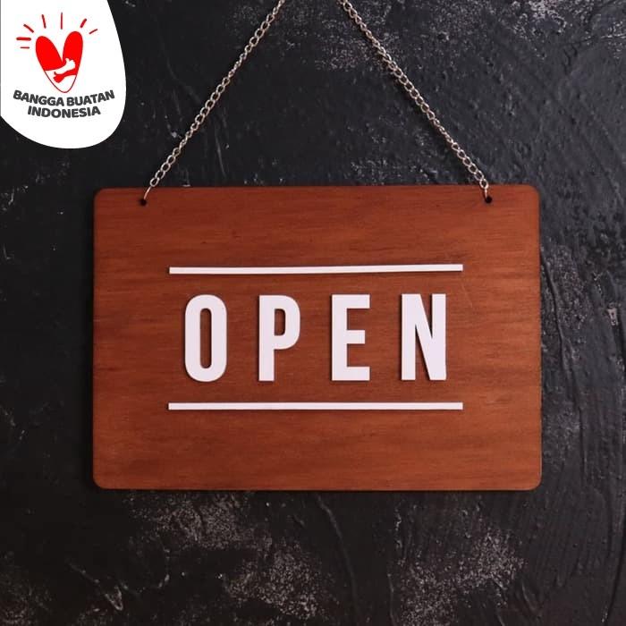 Foto Produk Open Closed | Sign Board Timbul Kayu | Rectangle dari Otello Laser Cut