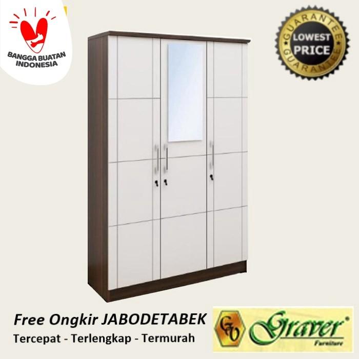 Foto Produk lemari pakaian 3 pintu minimalis putih - Cokelat Putih dari Maggio Home Centre