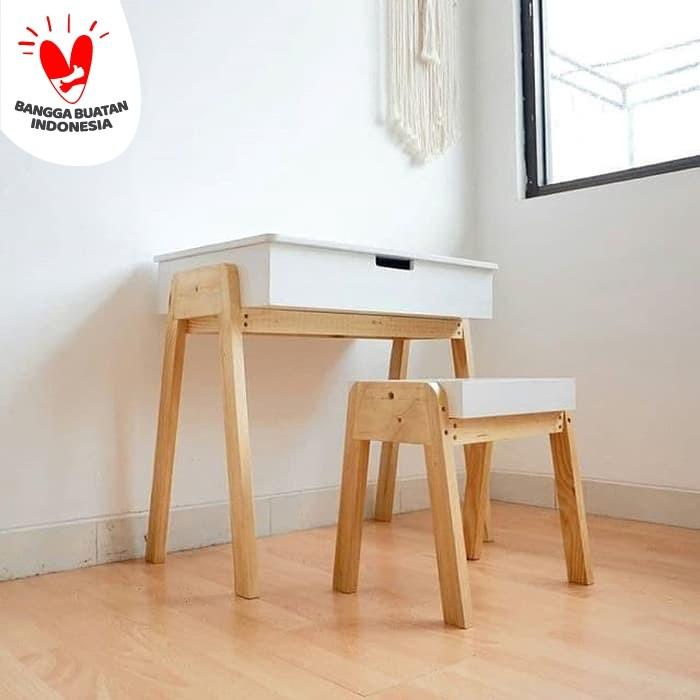Foto Produk Set Meja Belajar Putih - Meja Anak - Dekorasi Kamar Anak - dari Stilokiddo