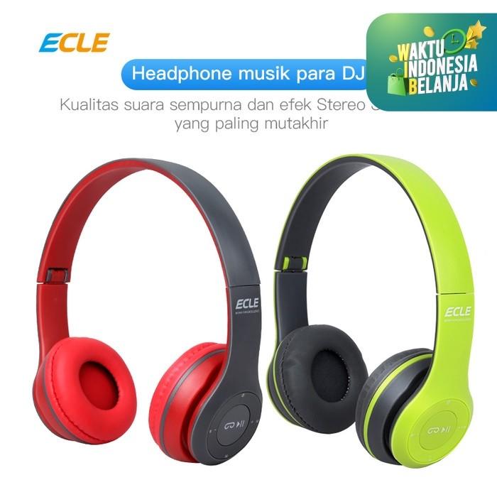 Foto Produk ECLE Bluetooth Headphone 2in1 Overhead Travel Foldable Stylish MicroSD - Hijau dari ECLE Official Store