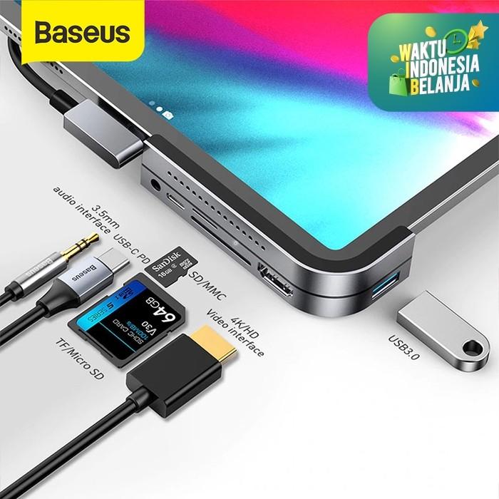 Foto Produk BASEUS BEND ANGLE TYPE-C HUB TO USB3.0 HDMI PD SD/TG 3.5MM JACK 4K - Abu-abu dari Baseus Official Store