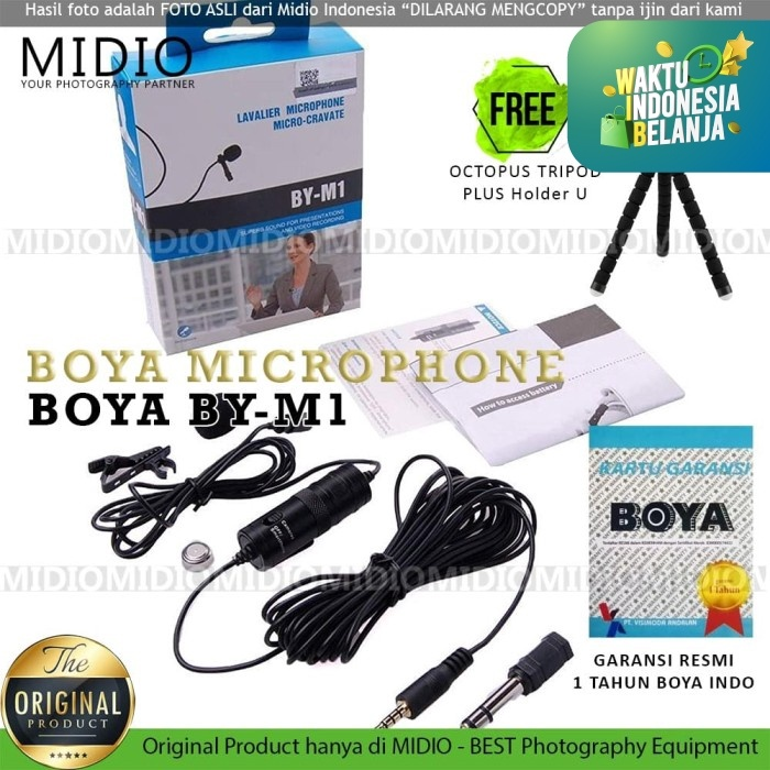 Foto Produk Microphone Mic Clip On Boya BY-M1 Lavalier - M1 BONUS EXTRA dari Midio