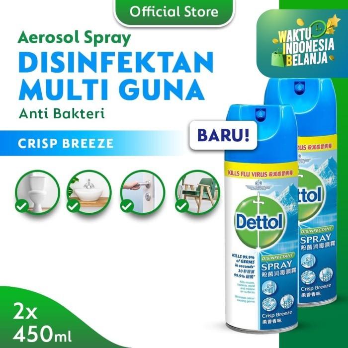 Foto Produk Dettol Disinfectant Spray Crisp Breeze 450ml - 2 Pcs dari Dettol Official Store